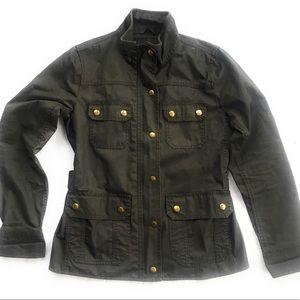 J Crew women wax military green jacket s distress